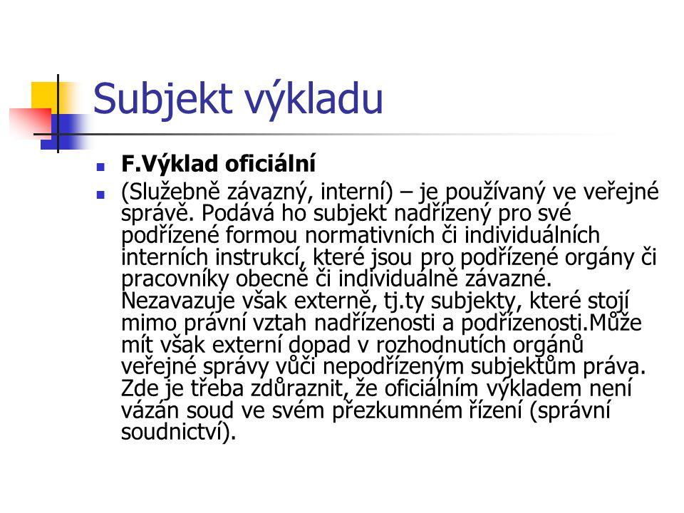Subjekt výkladu F.Výklad oficiální