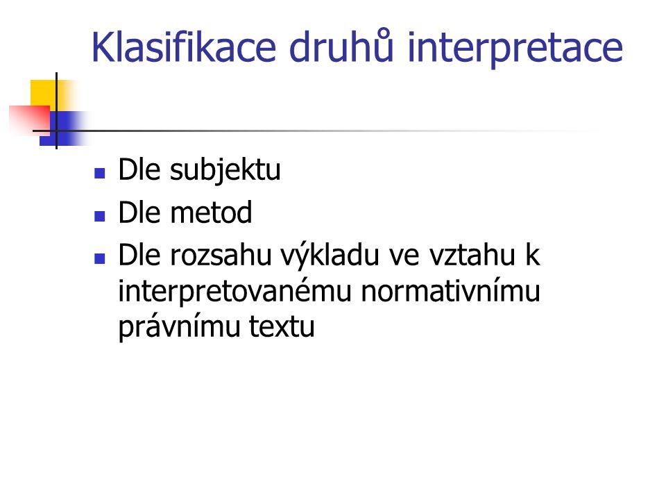 Klasifikace druhů interpretace