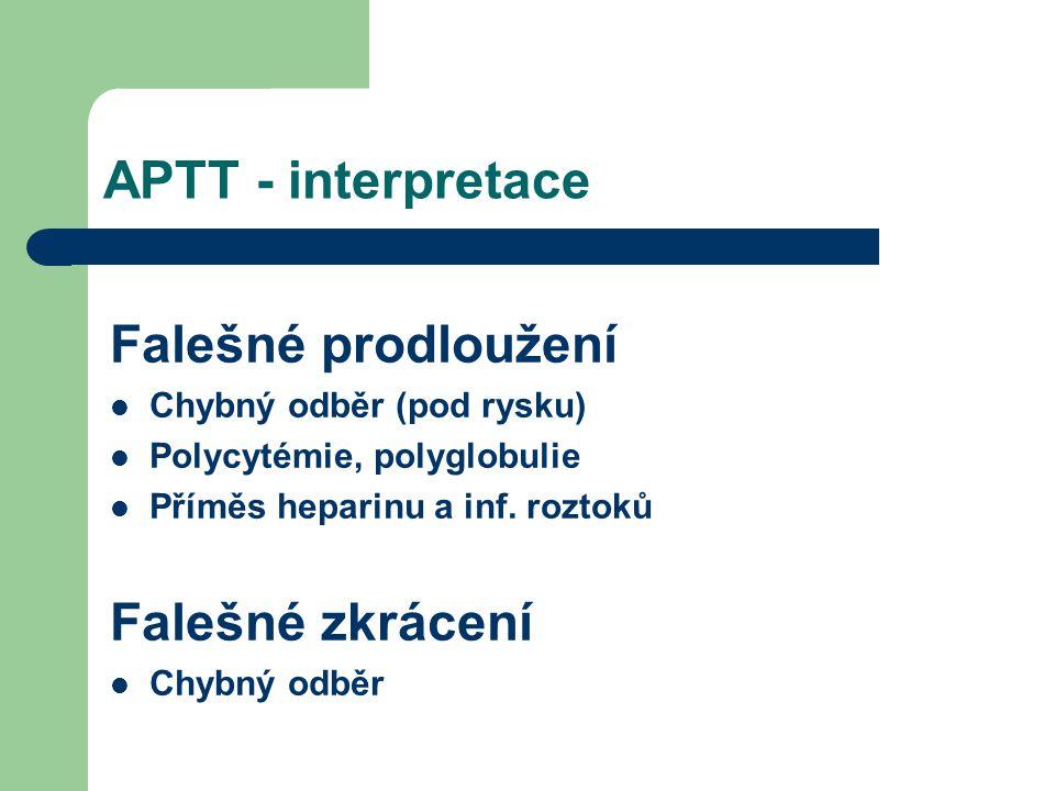 APTT - interpretace Falešné prodloužení Falešné zkrácení
