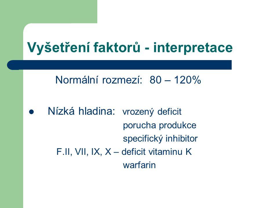 Vyšetření faktorů - interpretace