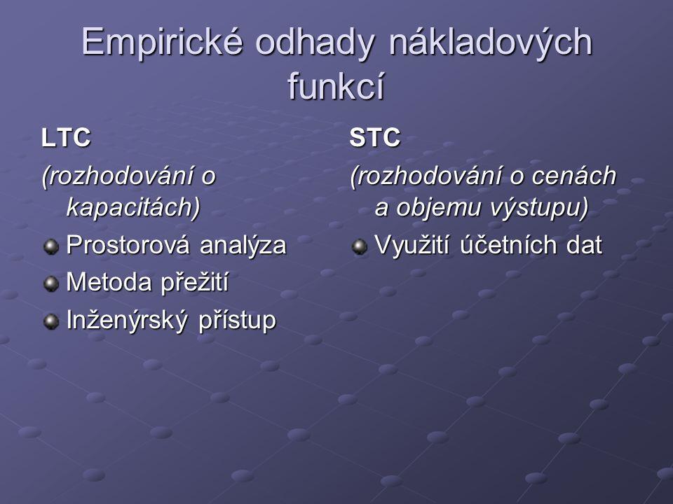 Empirické odhady nákladových funkcí
