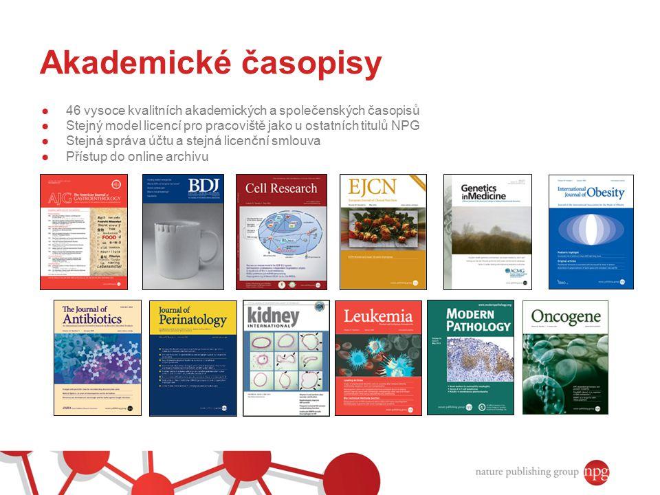 Akademické časopisy 46 vysoce kvalitních akademických a společenských časopisů. Stejný model licencí pro pracoviště jako u ostatních titulů NPG.