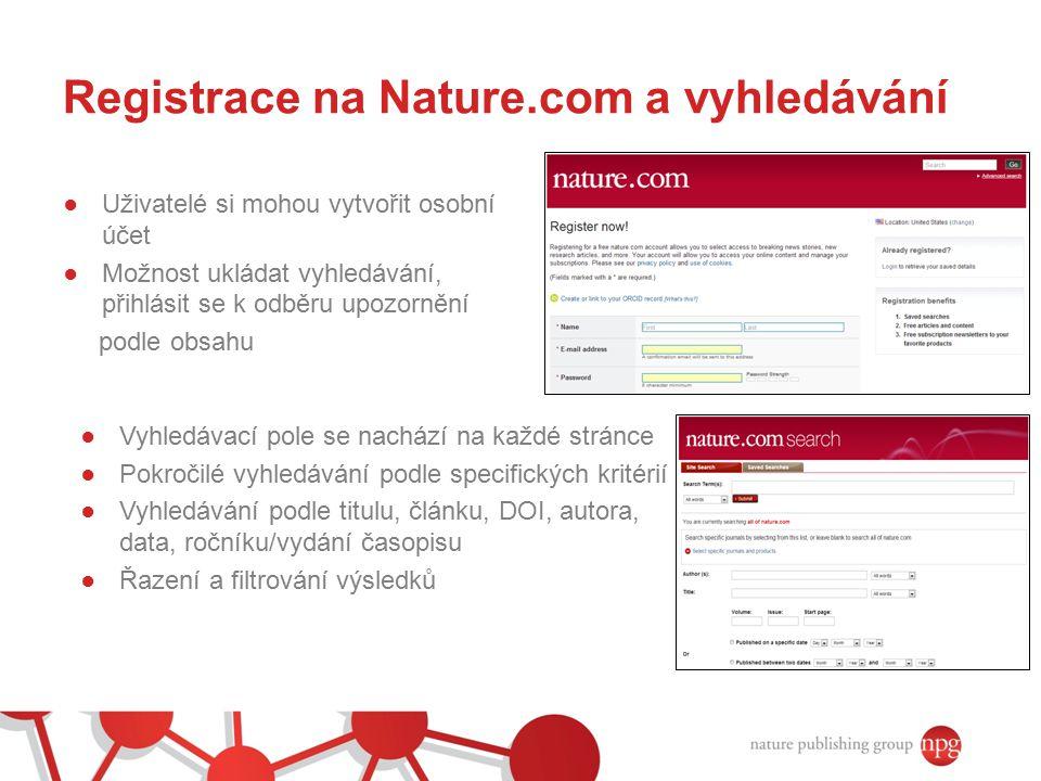 Registrace na Nature.com a vyhledávání