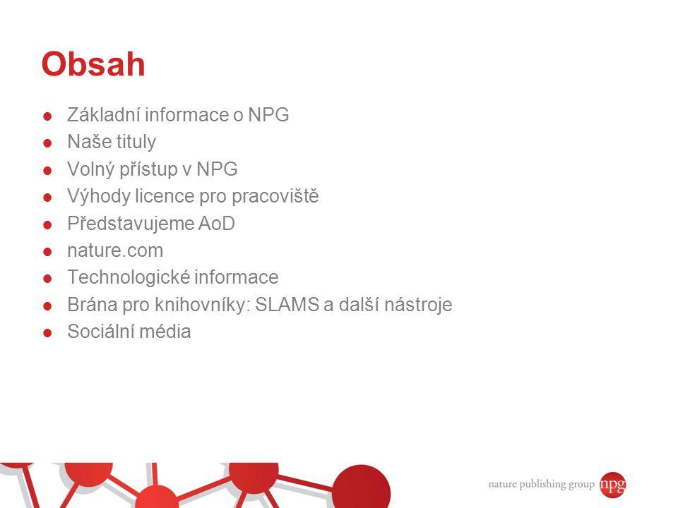 Obsah Základní informace o NPG Naše tituly Volný přístup v NPG