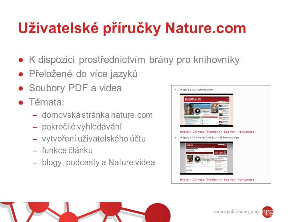Uživatelské příručky Nature.com