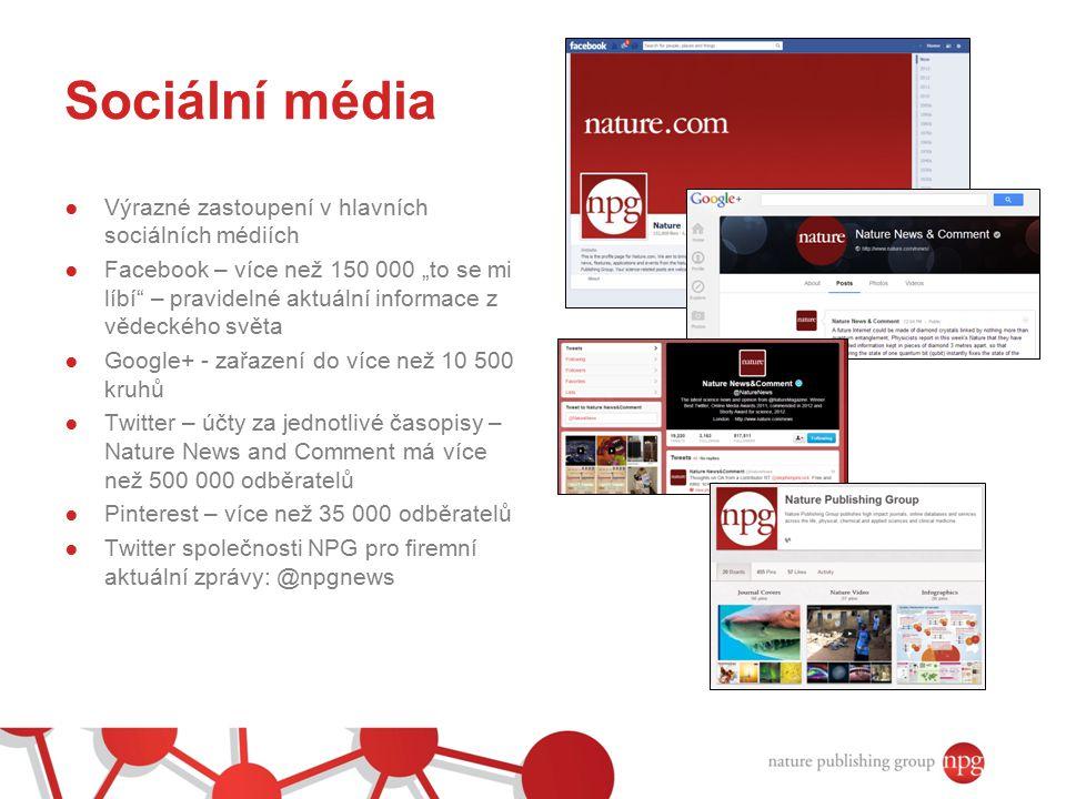 Sociální média Výrazné zastoupení v hlavních sociálních médiích