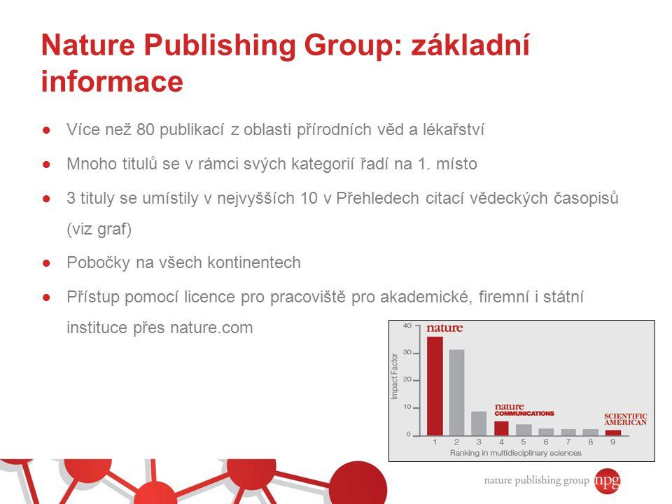Nature Publishing Group: základní informace