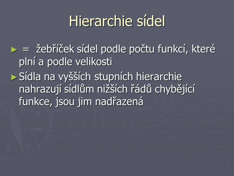 Hierarchie sídel = žebříček sídel podle počtu funkcí, které plní a podle velikosti.