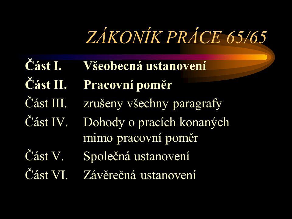 ZÁKONÍK PRÁCE 65/65 Část I. Všeobecná ustanovení