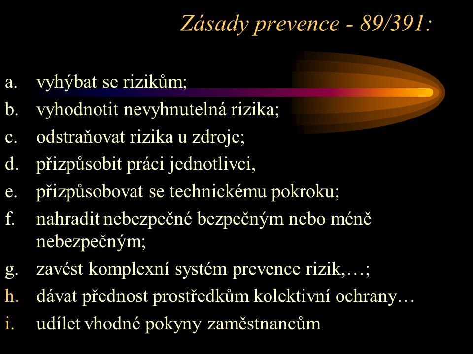 Zásady prevence - 89/391: a. vyhýbat se rizikům;