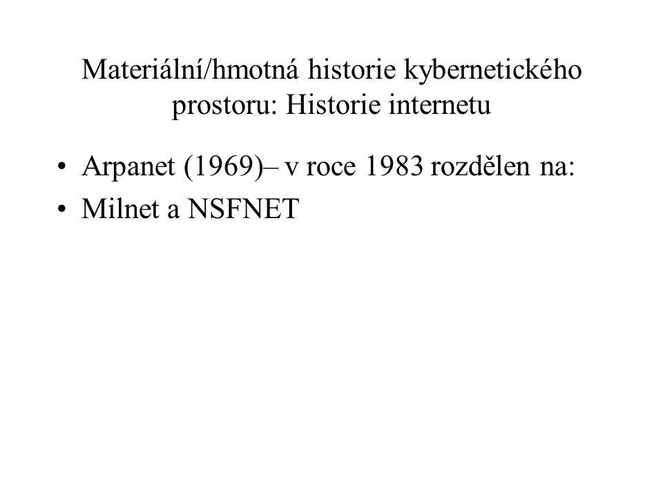 Materiální/hmotná historie kybernetického prostoru: Historie internetu