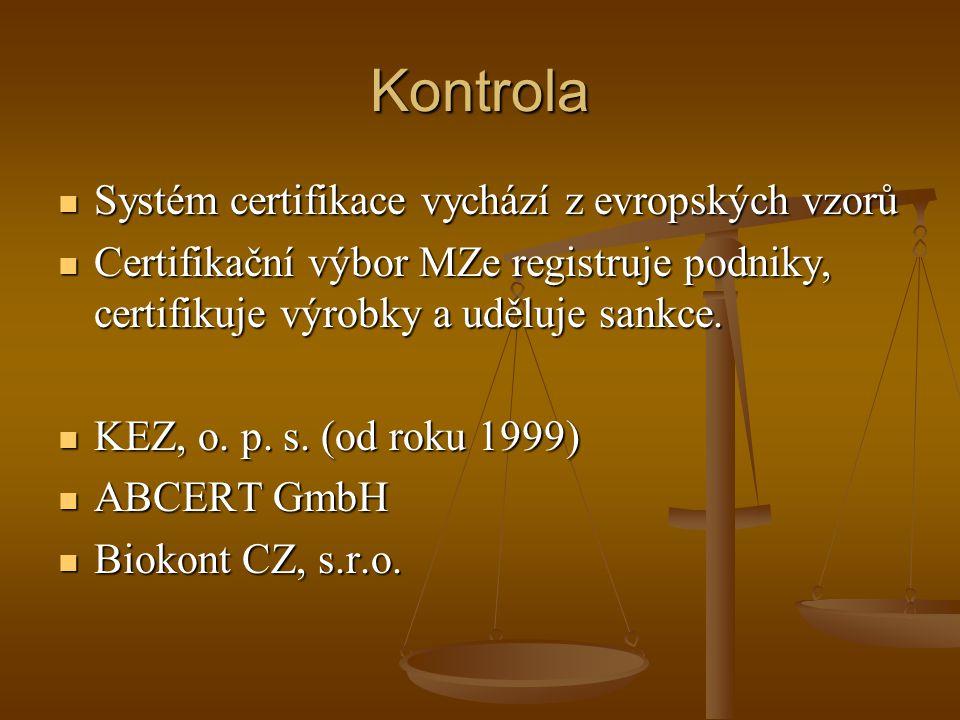 Kontrola Systém certifikace vychází z evropských vzorů