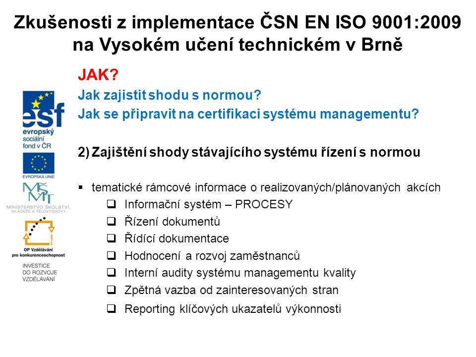Zkušenosti z implementace ČSN EN ISO 9001:2009