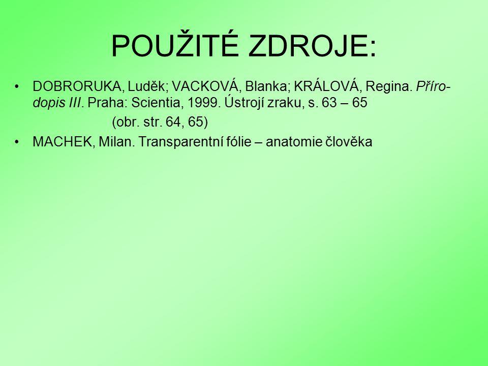 POUŽITÉ ZDROJE: DOBRORUKA, Luděk; VACKOVÁ, Blanka; KRÁLOVÁ, Regina. Příro-dopis III. Praha: Scientia, 1999. Ústrojí zraku, s. 63 – 65.