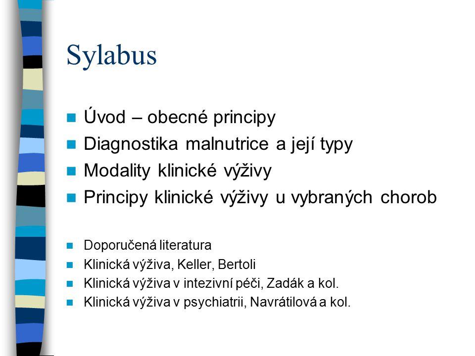 Sylabus Úvod – obecné principy Diagnostika malnutrice a její typy