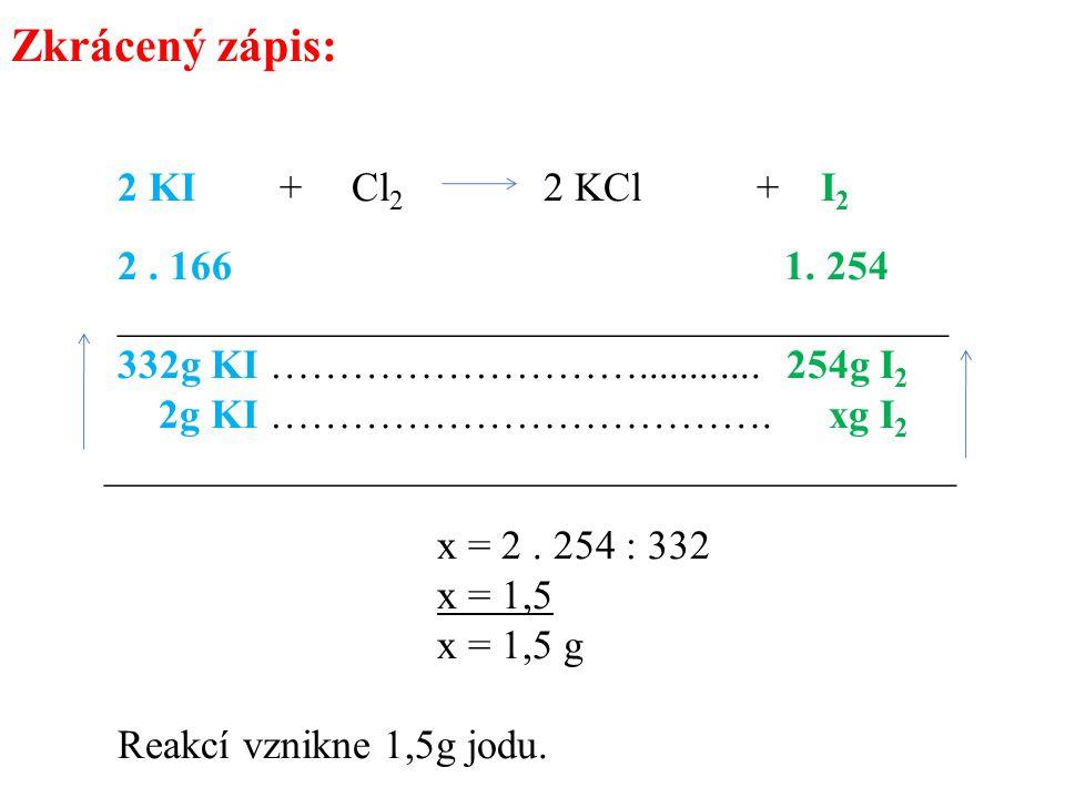 Zkrácený zápis: 332g KI ………………………............ 254g I2
