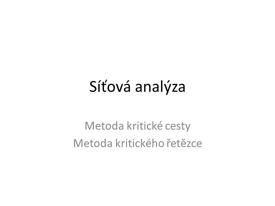 Metoda kritické cesty Metoda kritického řetězce