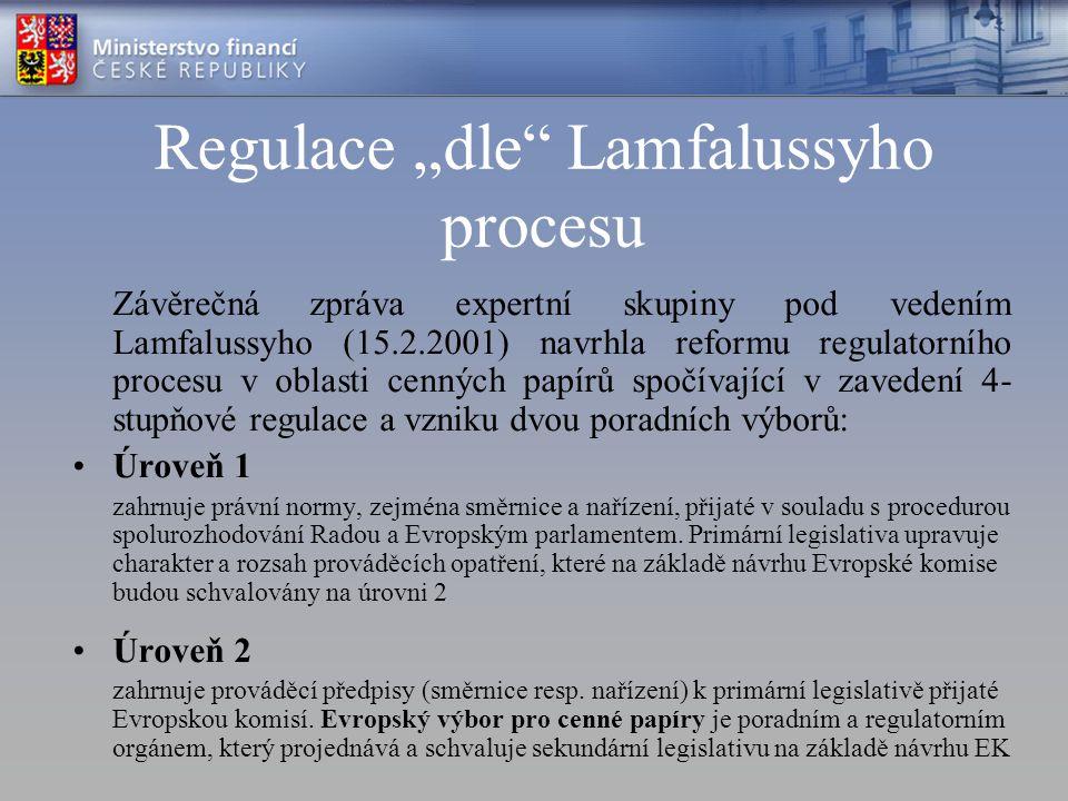 """Regulace """"dle Lamfalussyho procesu"""