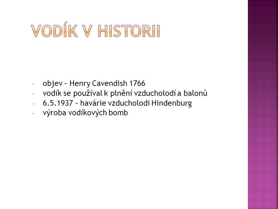 VODÍK V HISTORII objev – Henry Cavendish 1766