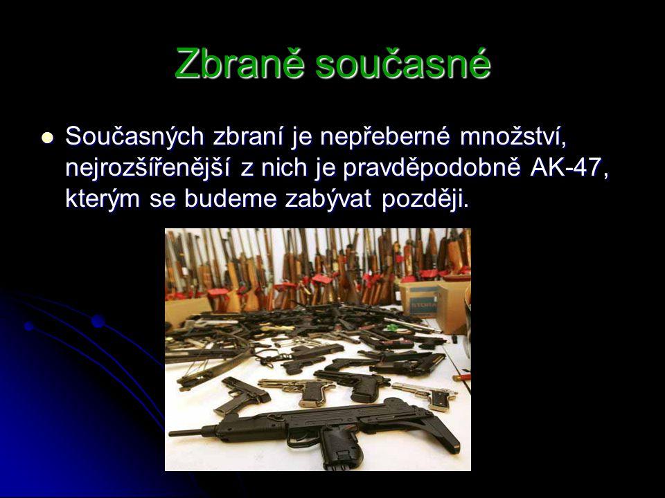 Zbraně současné Současných zbraní je nepřeberné množství, nejrozšířenější z nich je pravděpodobně AK-47, kterým se budeme zabývat později.