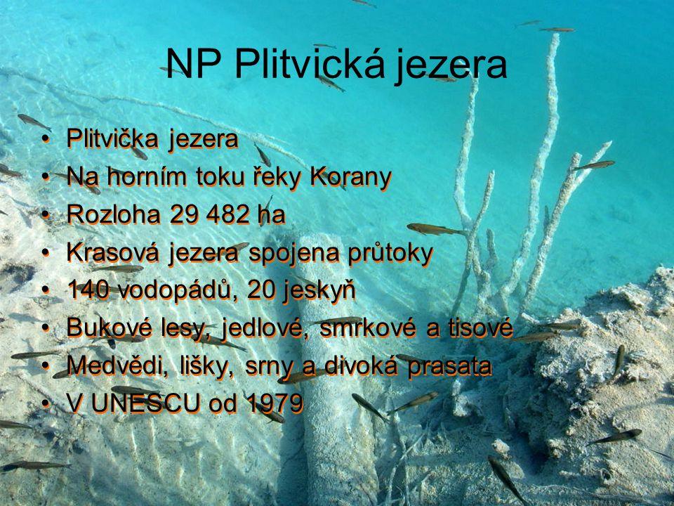 NP Plitvická jezera Plitvička jezera Na horním toku řeky Korany