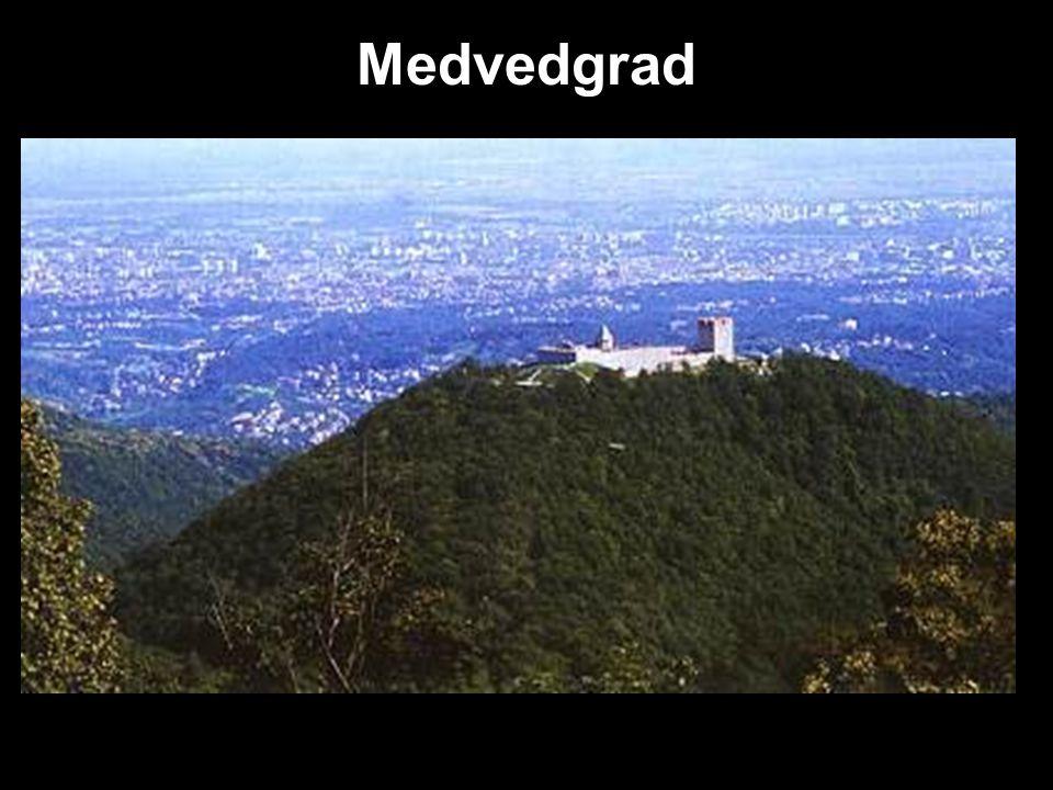 Medvedgrad Nejdůležitější středověký hrad v Chorvatsku-13. stol. na hoře Medvednica. Diecézní pevnost→ královské město.