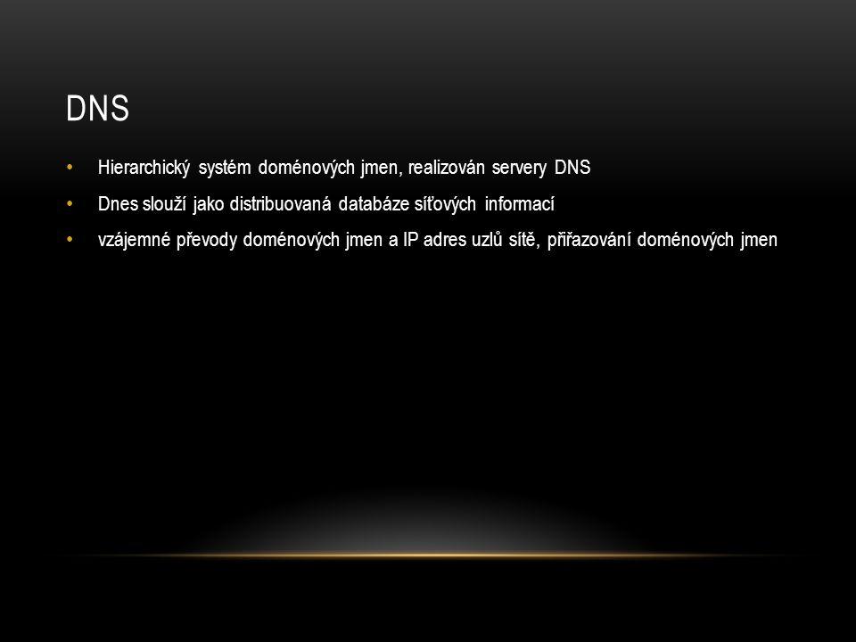DNS Hierarchický systém doménových jmen, realizován servery DNS