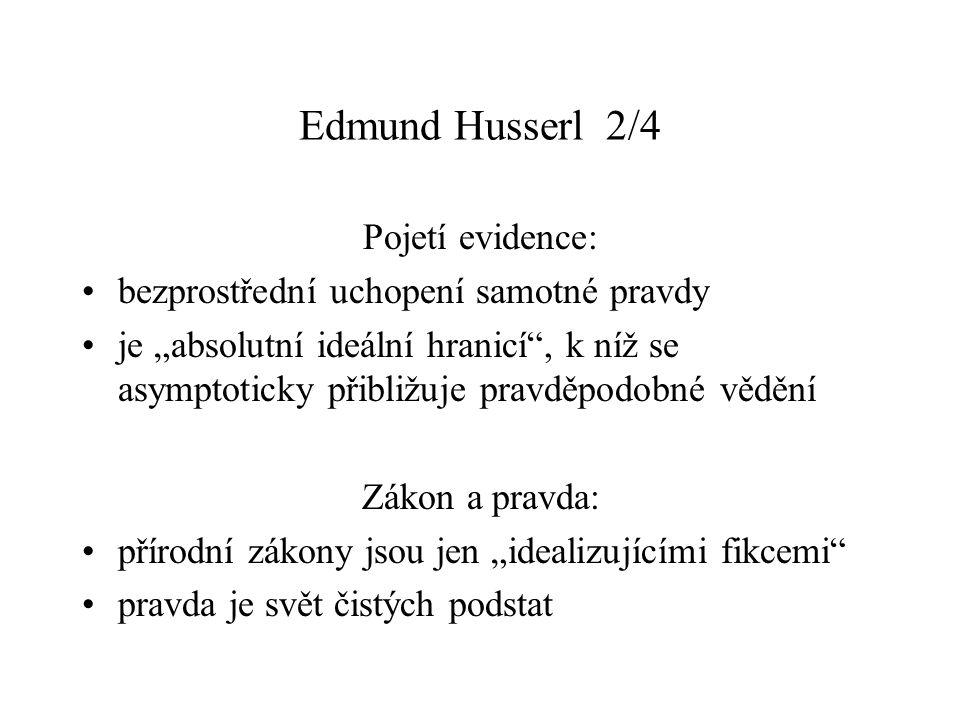 Edmund Husserl 2/4 Pojetí evidence: