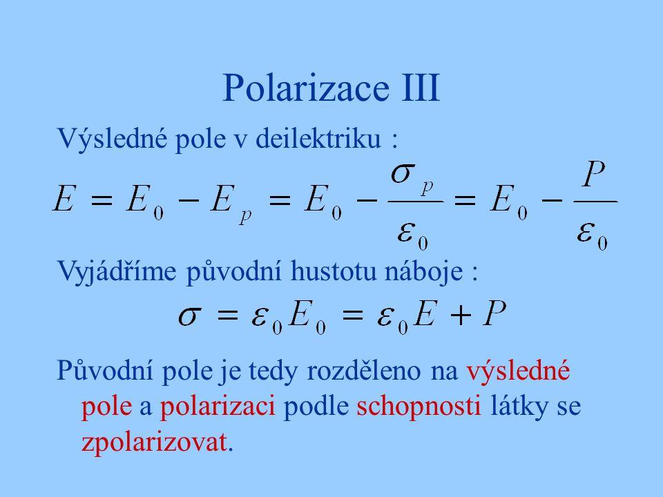 Polarizace III Výsledné pole v deilektriku :
