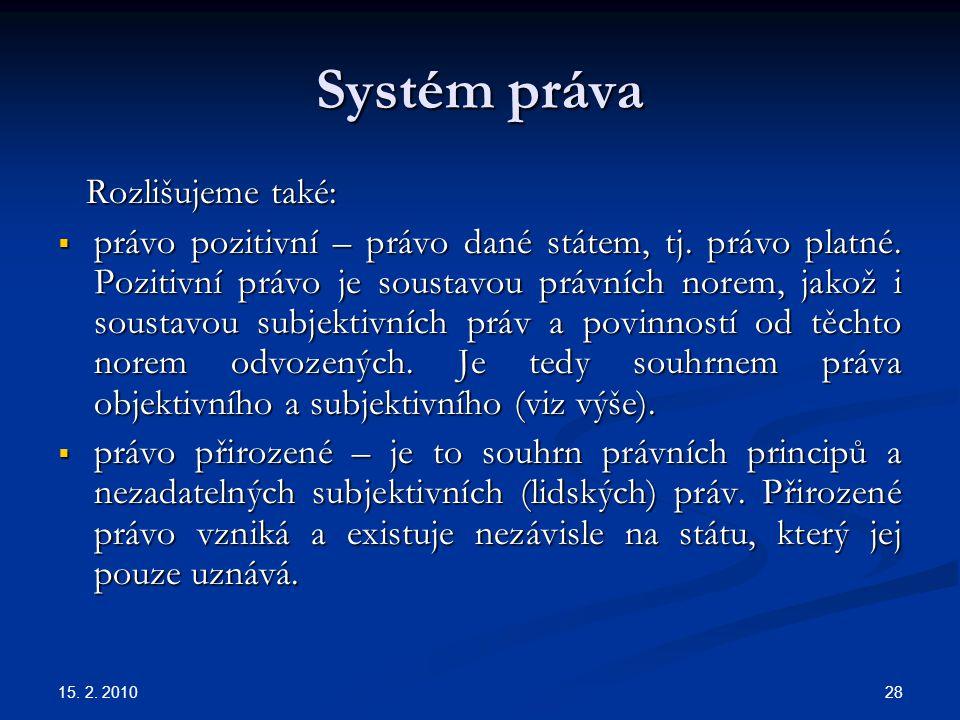 Systém práva Rozlišujeme také:
