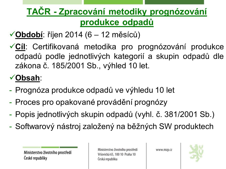 TAČR - Zpracování metodiky prognózování produkce odpadů