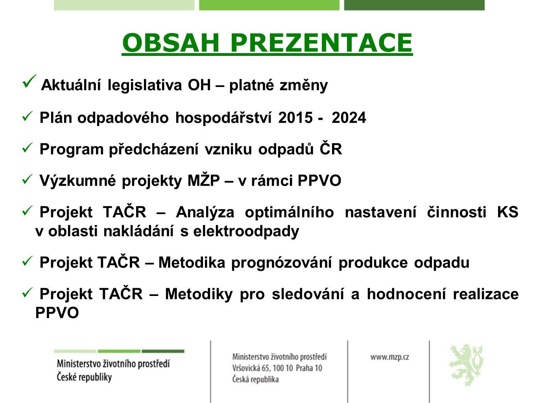 OBSAH PREZENTACE Aktuální legislativa OH – platné změny