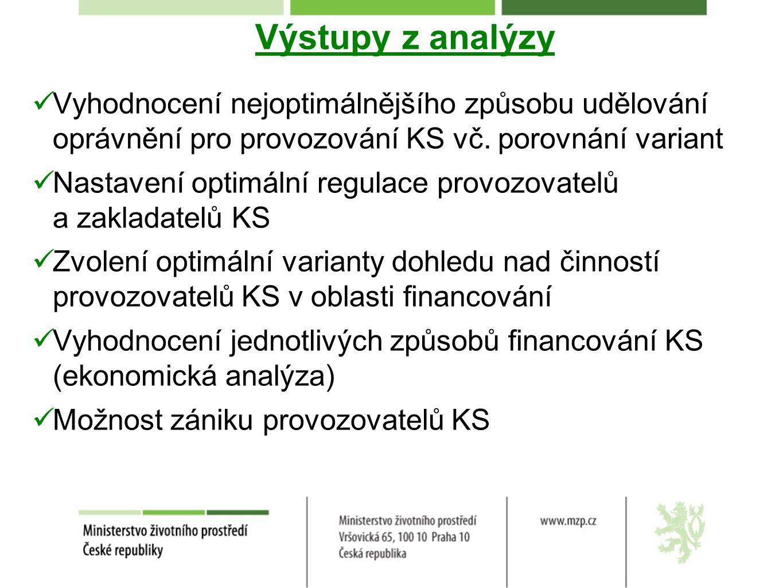 Výstupy z analýzy Vyhodnocení nejoptimálnějšího způsobu udělování oprávnění pro provozování KS vč. porovnání variant.