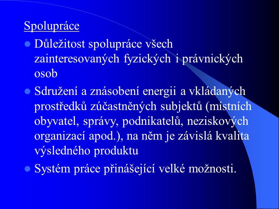 Spolupráce Důležitost spolupráce všech zainteresovaných fyzických i právnických osob.