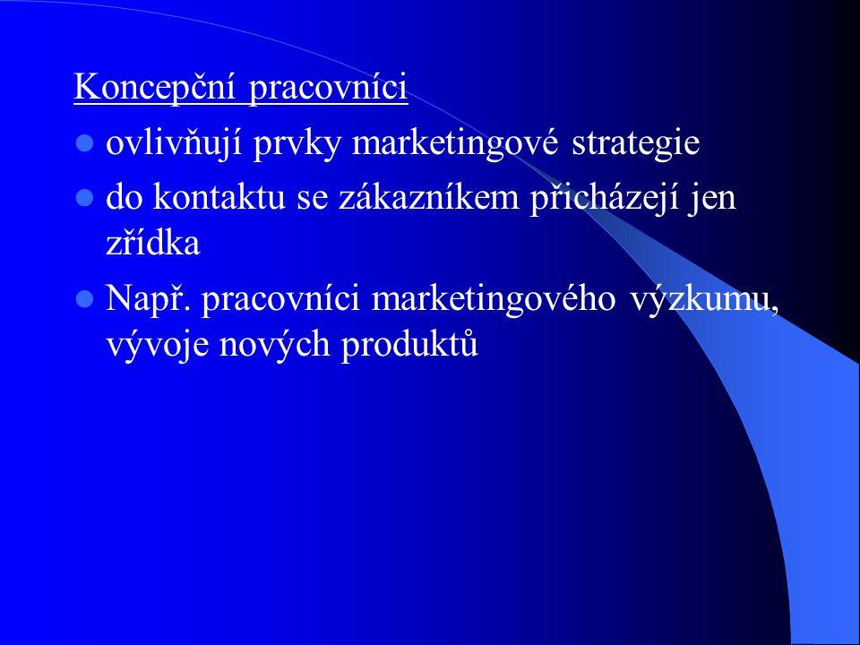 Koncepční pracovníci ovlivňují prvky marketingové strategie. do kontaktu se zákazníkem přicházejí jen zřídka.