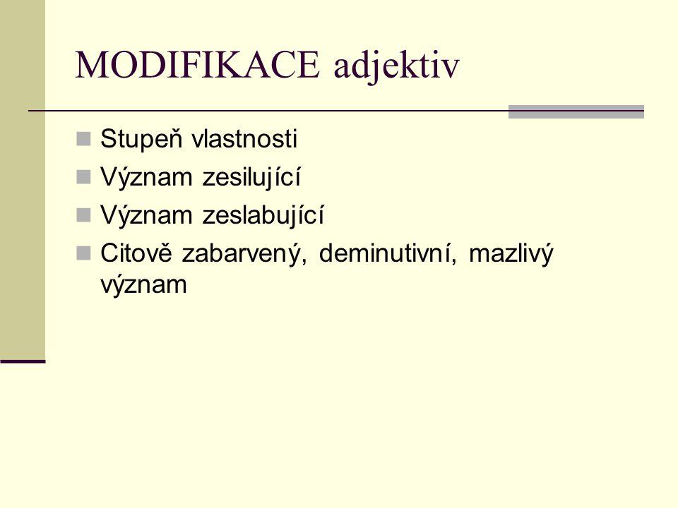 MODIFIKACE adjektiv Stupeň vlastnosti Význam zesilující
