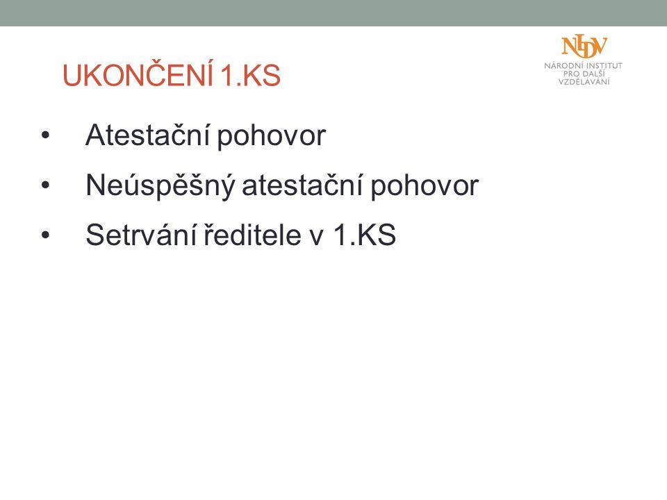 Neúspěšný atestační pohovor Setrvání ředitele v 1.KS