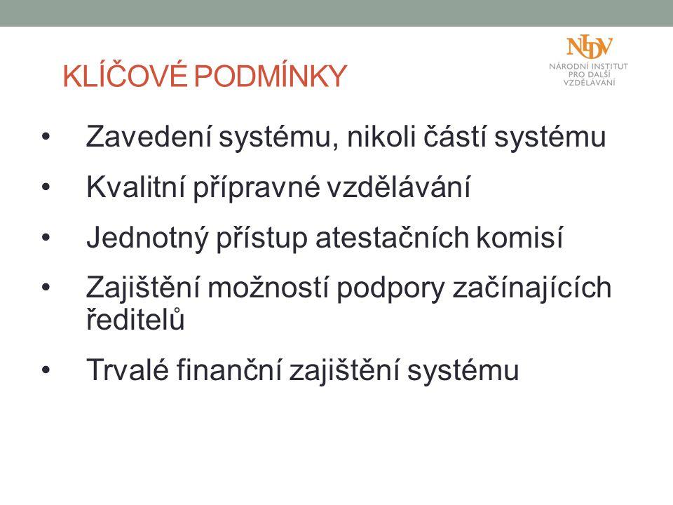 Zavedení systému, nikoli částí systému Kvalitní přípravné vzdělávání