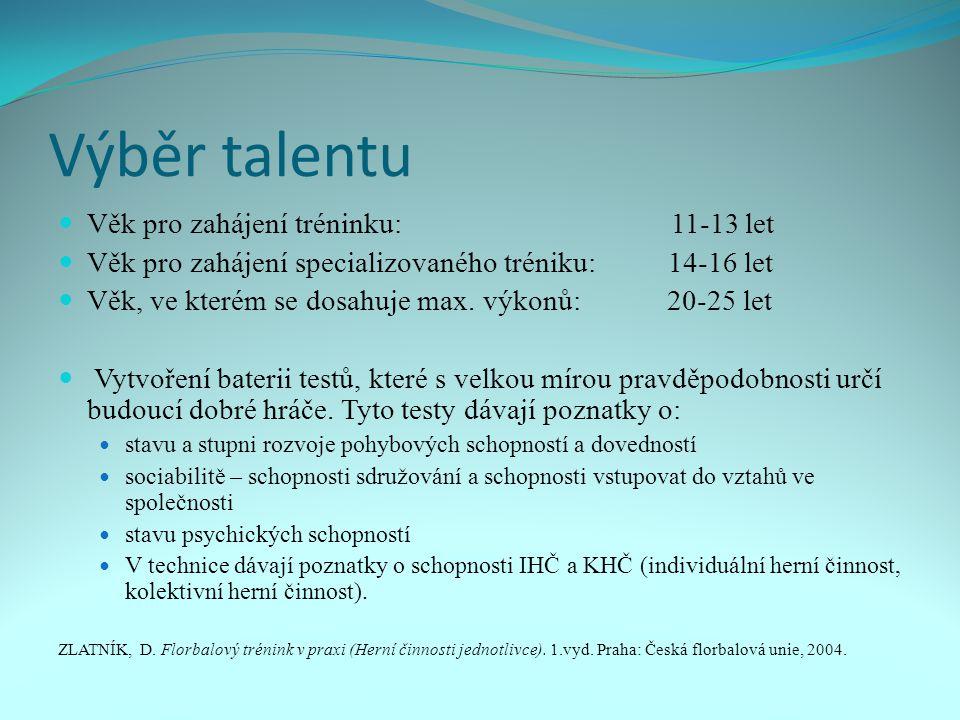Výběr talentu Věk pro zahájení tréninku: 11-13 let