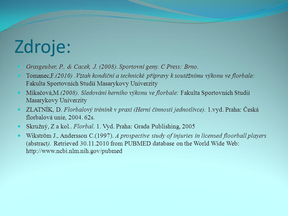 Zdroje: Grasgeuber, P., & Cacek, J. (2008). Sportovní geny. C Press: Brno.