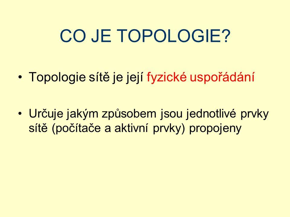 CO JE TOPOLOGIE Topologie sítě je její fyzické uspořádání