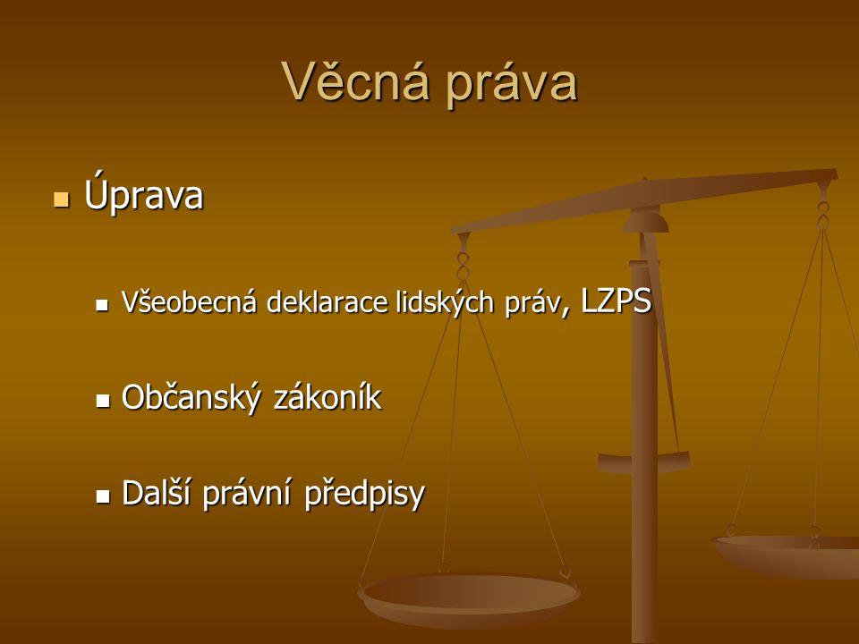 Věcná práva Úprava Občanský zákoník Další právní předpisy