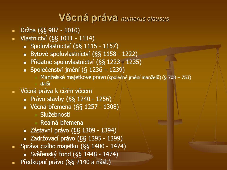 Věcná práva numerus clausus