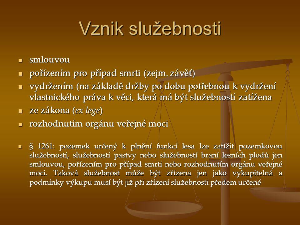 Vznik služebnosti smlouvou pořízením pro případ smrti (zejm. závěť)