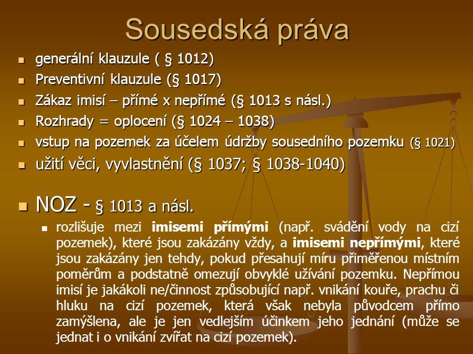 Sousedská práva NOZ - § 1013 a násl.