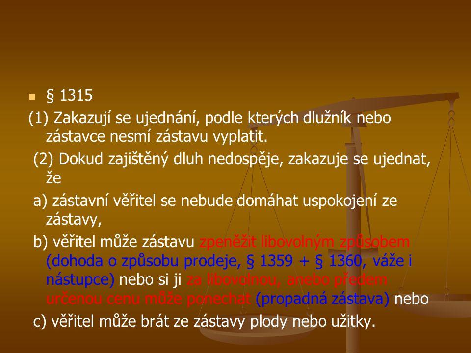 § 1315 (1) Zakazují se ujednání, podle kterých dlužník nebo zástavce nesmí zástavu vyplatit.