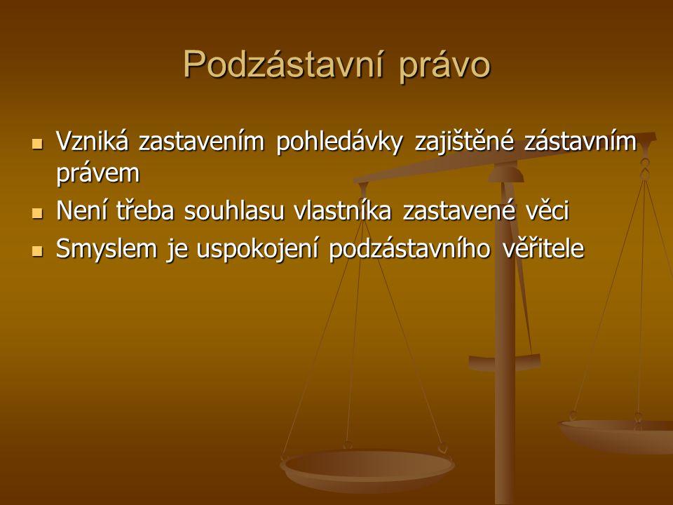 Podzástavní právo Vzniká zastavením pohledávky zajištěné zástavním právem. Není třeba souhlasu vlastníka zastavené věci.