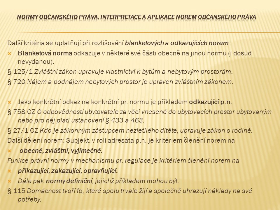 Normy občanského práva, interpretace a aplikace norem občanského práva