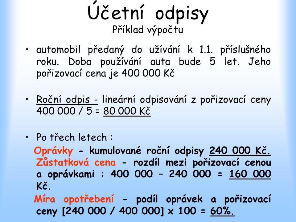 Účetní odpisy Příklad výpočtu