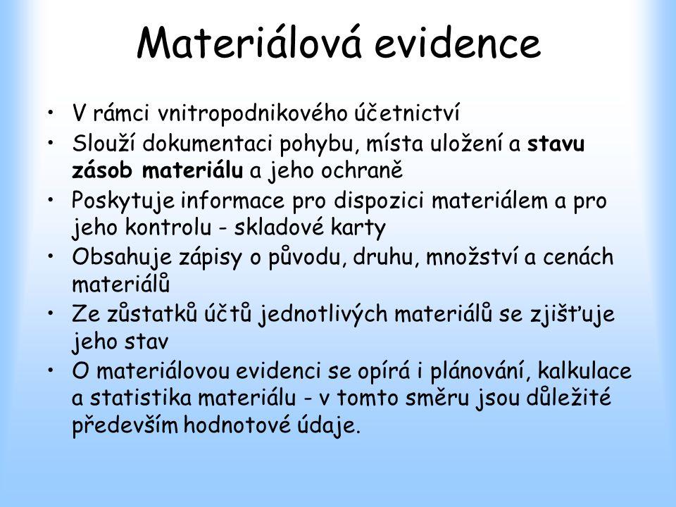 Materiálová evidence V rámci vnitropodnikového účetnictví